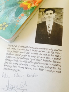 James's entry in the School Leavers Yearbook. He had a cut on his head at the time, and added it to his picture.